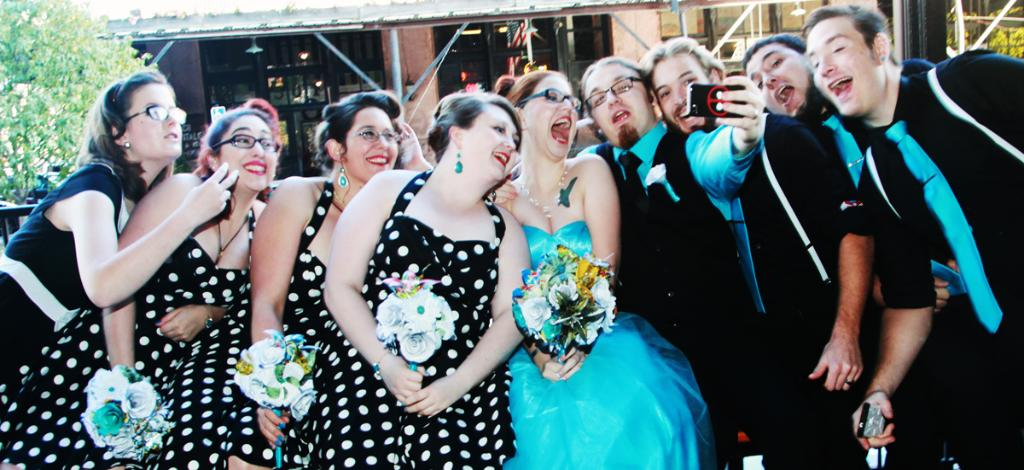This is a professional wedding photo taken in the Old Market in Omaha by M.J.B. Photography
