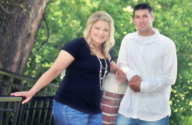 Pretty engagement picture at Elmwood Park by M.J.B. Photography.